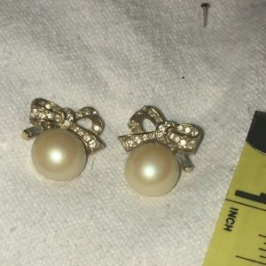 Gold pearl crystal bow topped earrings